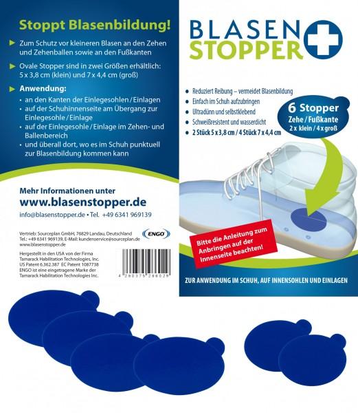 Blasenstopper – 6 Ovale Stopper für Zehe/Fußkante
